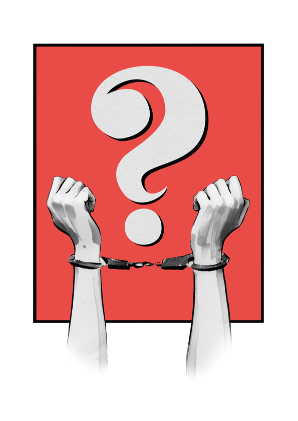 Freedom illustration hands in chains question mark