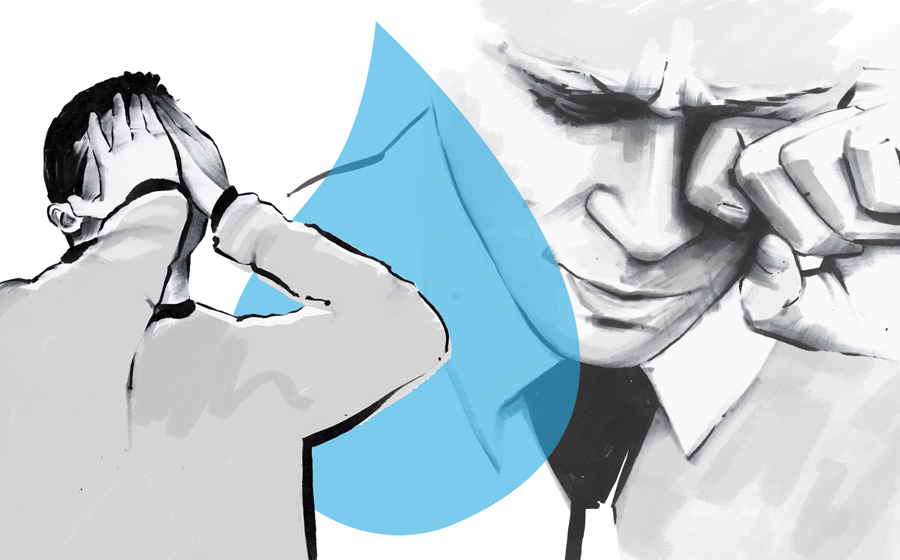 Men crying with a blue tear
