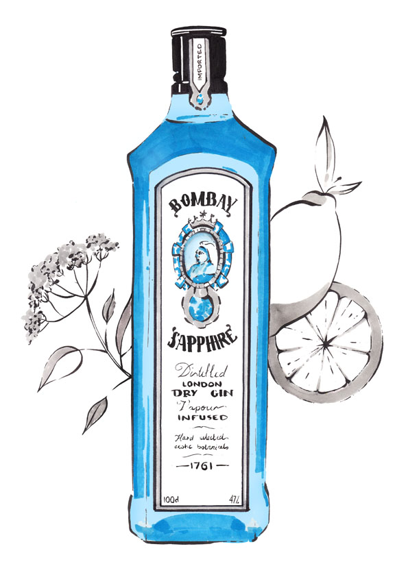 Bombay Sapphire with lemon peel and elder-flower tonic