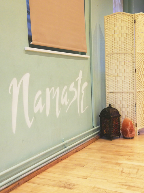 Yoga studio wall quote