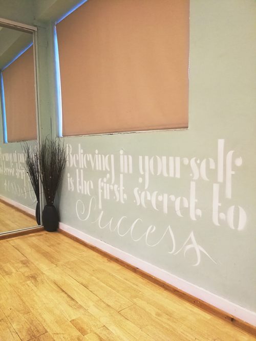 Wall art quote yoga studio