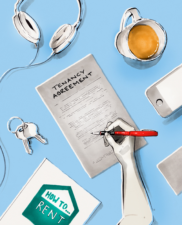 Hand signing rental agreement illustration