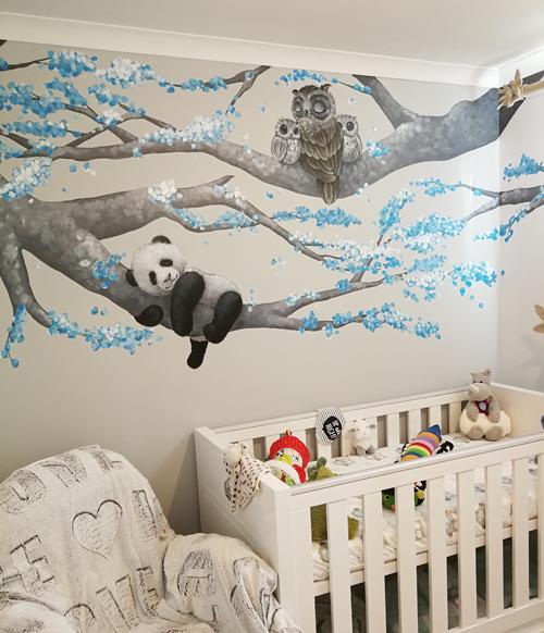 Baby Nursery Mural Blue Blossom