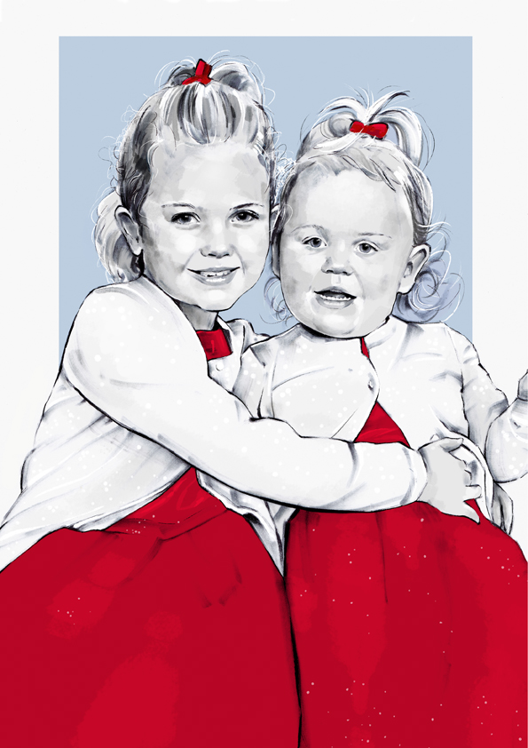 Portrait of little girl sisters wearing red dresses