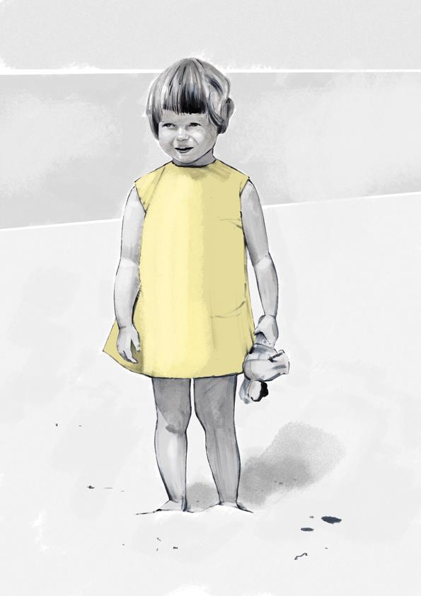Little Girl Yellow Dress Vintage Illustration