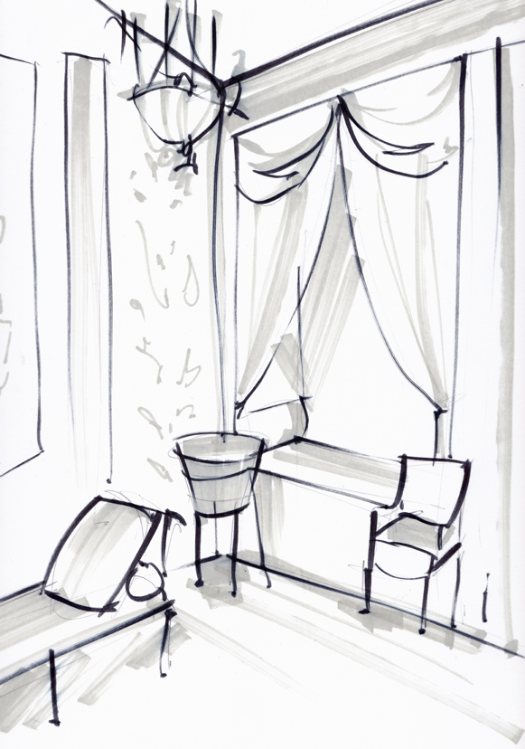 Vintage Bedroom Sketch - Laura Hope