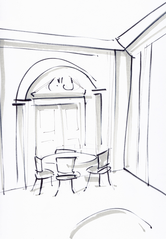 Vintage Dining Room Sketch - Laura Hope
