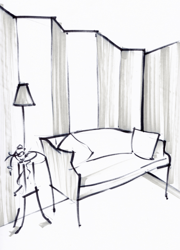 Vintage Sofa Sketch - Laura Hope