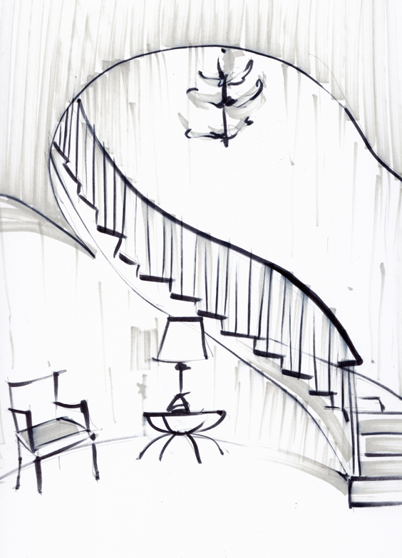 Vintage Staircase Sketch - Laura Hope