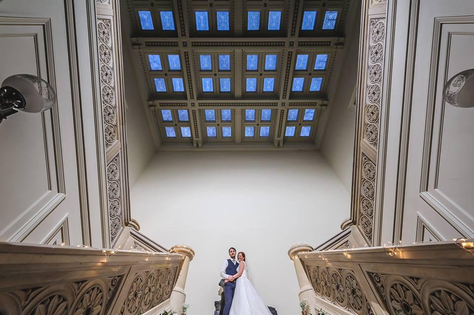 Bride and Groom in the Atrium