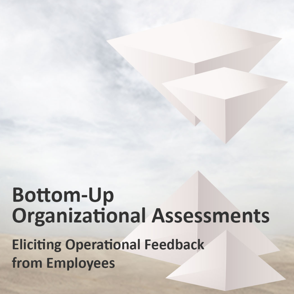 "Title:   Bottom-Up Organizational Assessments: Eliciting Operational Feedback from Employees    Publication:   Training Industry Magazine  , May/June 2017  Published in the ""Mind the Gap"" issue, the article discussed the ways in which executives could obtain organizational feedback from employees that deal with day-to-day operations."
