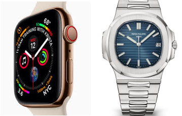 An Apple Watch and a Patek Phillipe Nautilus. Don't those hands look similar?