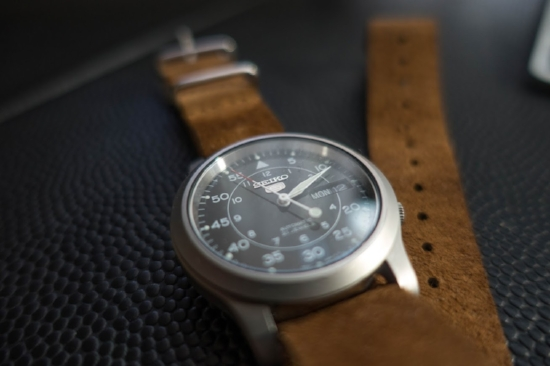 The Seiko SNK807 with blue dial