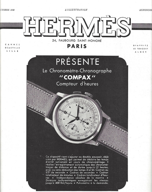 An Hermes ad for its Compax, manufactured by Universal Geneve