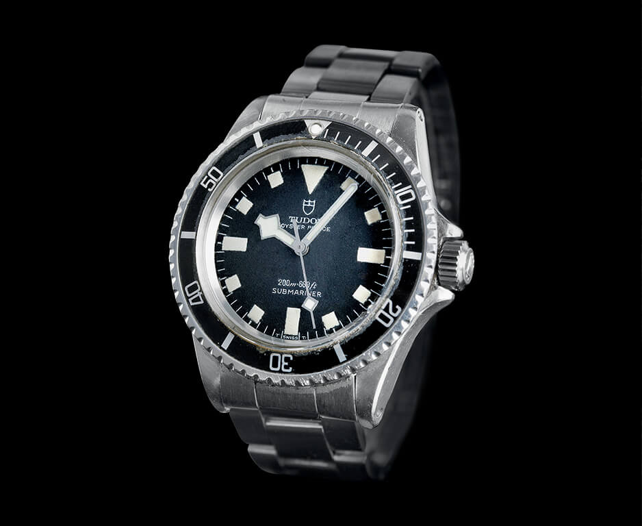 "Above and below: Tudor Submariner Ref. 7016 (no date) and Ref. 7021 (date) ""Snowflake"" 