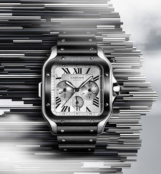 Cartier Santos Chronograph in steel and black ALDC steel