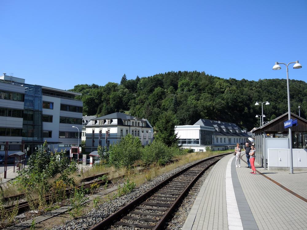 Glashütte from the train platform. From left: Glashütte Original, A Lange, and Nomos