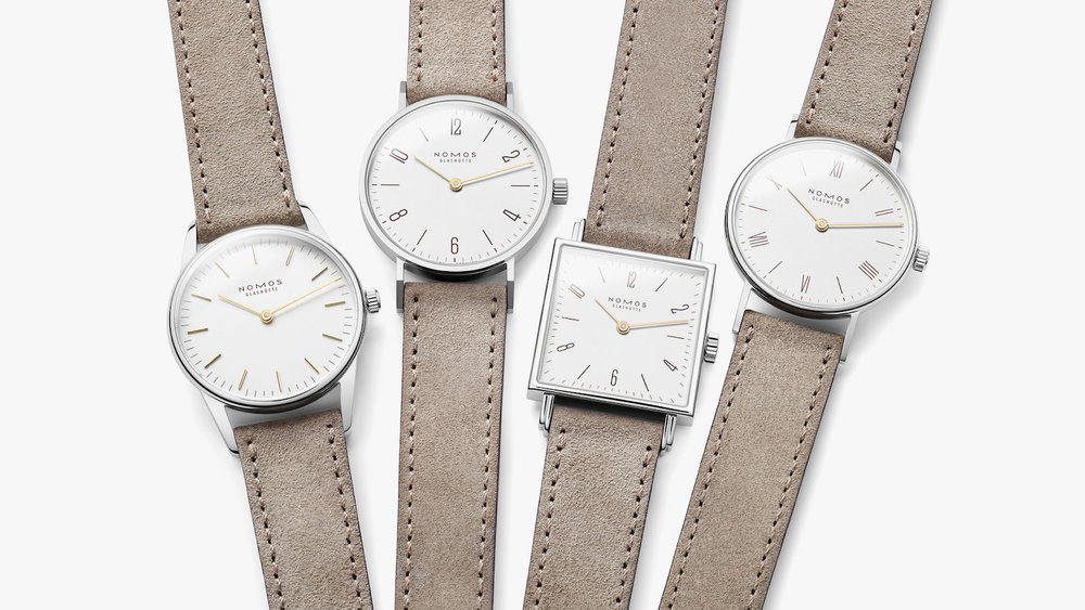 Nomos Duo collection (from left): Orion, Tangente, Tetra, Ludwig.
