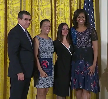 """Lizt Alfonso visited the White House to receive the  """"International Spotlight Award""""  given by the  The President's Committee on the Arts and Humanities and Michelle Obama ."""