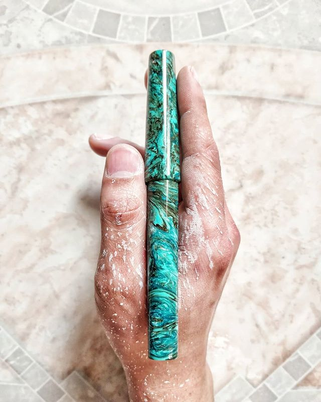 Finished up polishing this pen! Beautiful material! It's up on the site now! . . . ________________________________________________  #fountainpens #artist #art #artworks #ink #asmr #beauty #loveart #artsy #satisfying #calligraphy #calligraphyvideos #calligrapher #handwriting #writing #draw #colorful #color #ink #instaart #fun #beautiful #calligraphymasters #artstagram #flexing #ilIoveart #love #pennsler #fun #flourish #thecalligraphyhub