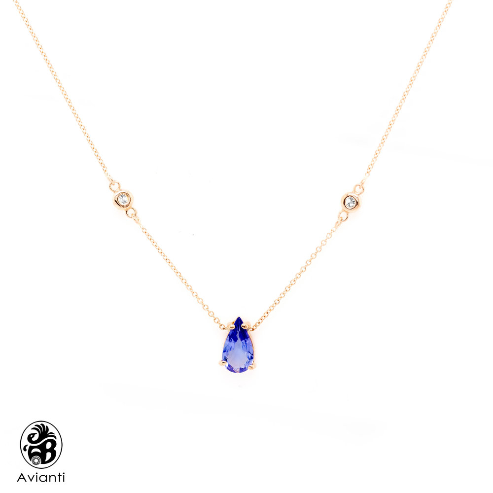 8f978db777d Avianti - Trending Women's Necklace. 14K Rose Gold. Pear Tanzanite And  Round Diamonds. - Jewelry Gifts
