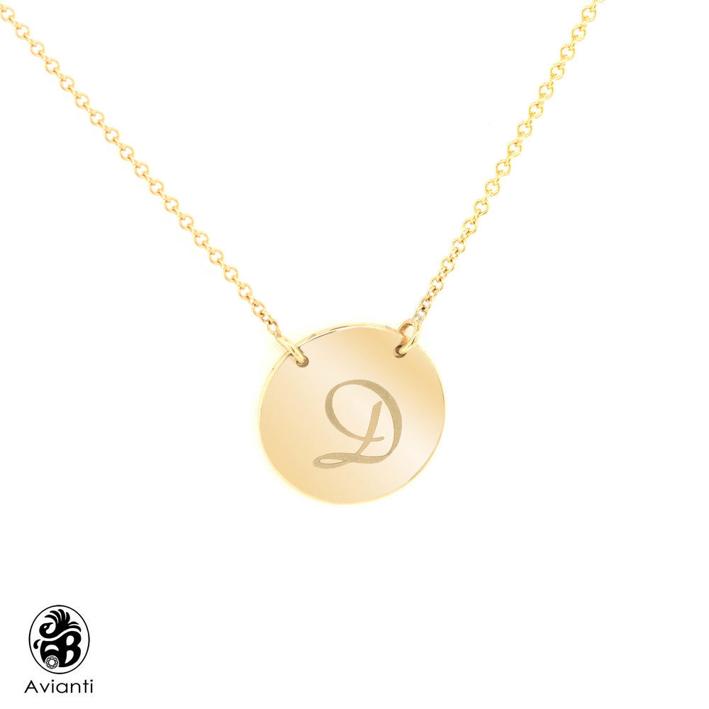9c545131a83406 Avianti - Trending Women's Necklace. 14K Yellow Gold. Monogram Pendant Disc  Round Engraved Initials. - Jewelry Gifts
