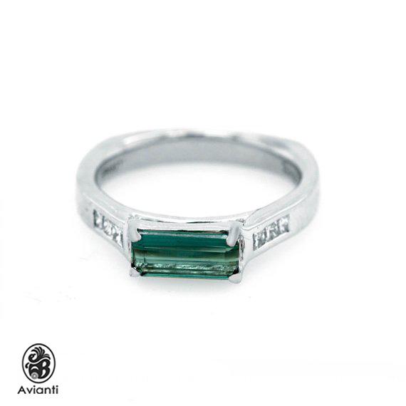 Avianti - Trending Women s Ring. 14K White Gold. Emerald Cut Tourmaline And  Round Diamonds. 0eb83f47d