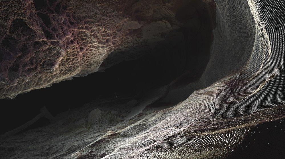 Lidar scan of honey comb cave scan