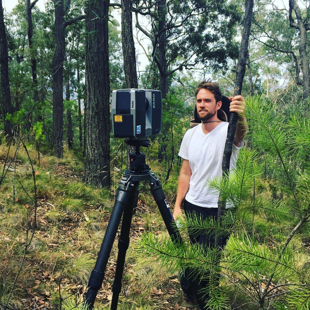 Ruben Van Leer making lidar scans