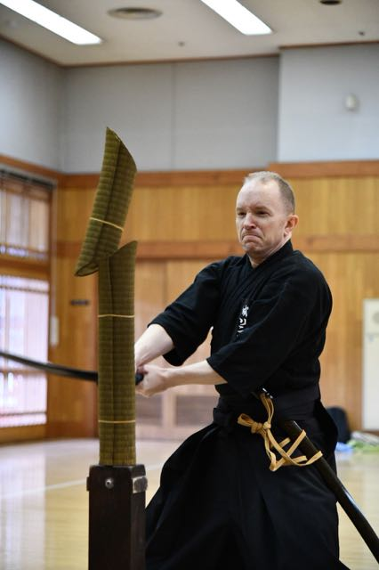 Three elements: - 1) Rei (礼)- A formalized way of showing respect to other dojo members and maintaining respect for the beautiful and dangerous katanas we use2) Kata (形)- Practice of the ten forms recognized by the Japan Batto-do Federation and continual refinement of their execution3) Jitsugi (実技)- Practical skill. Batto-do places high importance on the ability to properly cut tatami targets when performing the ten kata, or techniques. This skill is difficult to develop, but when done successfully it feels very satisfying!