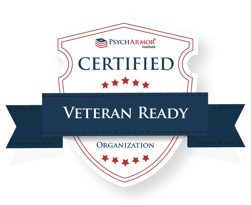 we are veteran ready - Our board members have completed the courses and requirements through the Psych Armor Institute which have helped us build on our commitment to effectively engaging with the Military-Veteran community.