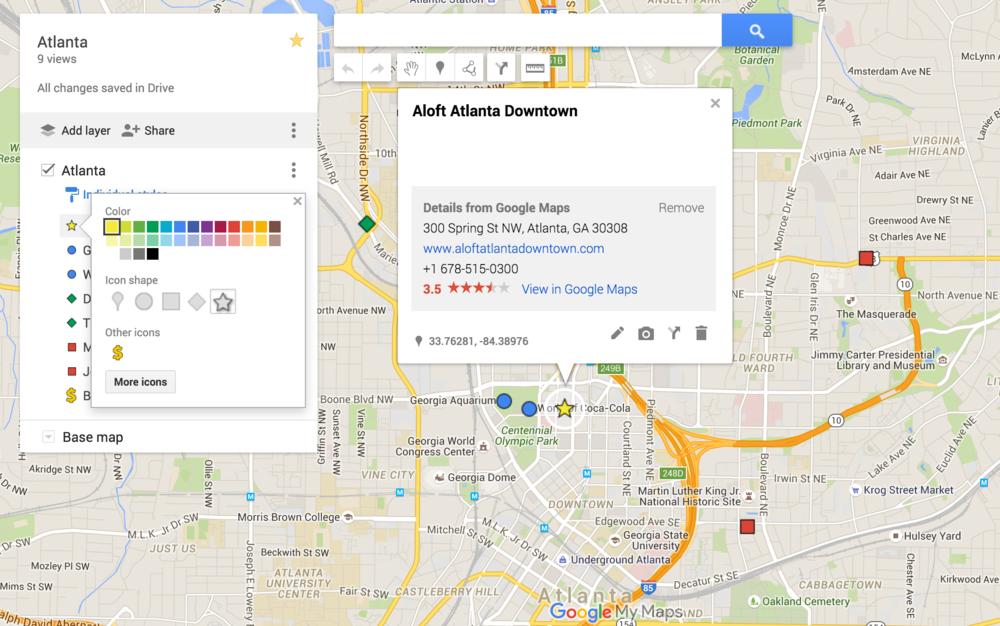 Rachel Travels - Google Maps - Add Icons
