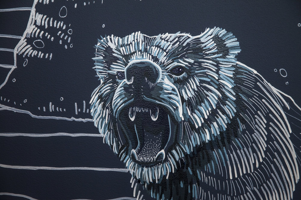 - Electric Coffin's Ursa Minor character was turned into a mural with simple hand-painted line work. The piece represents a sense of home: something Zillow Group's mission caters to.