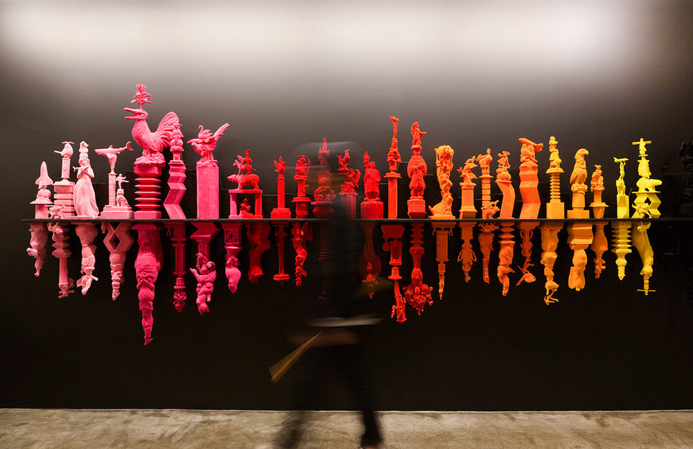 - This two-phase art installation was created for Facebook's Seattle office. The three-dimensional sound wave sculpture is comprised of discarded domestic objects found in local thrift stores, recomposed and finished with multicolored flocking.