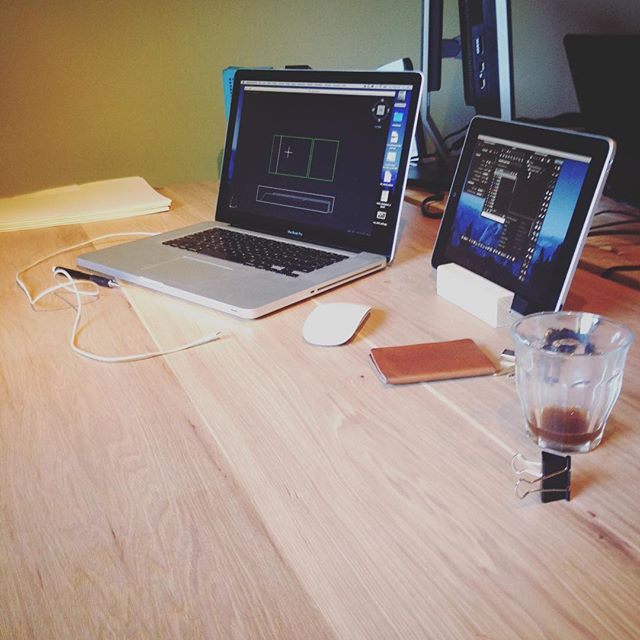 Designers desk in use! Hickory and steel. Formal pictures to come! #woodwork #fieldnorth #officelife #hickory #shopdays #autocad #macbookpro #madisonparkseattle