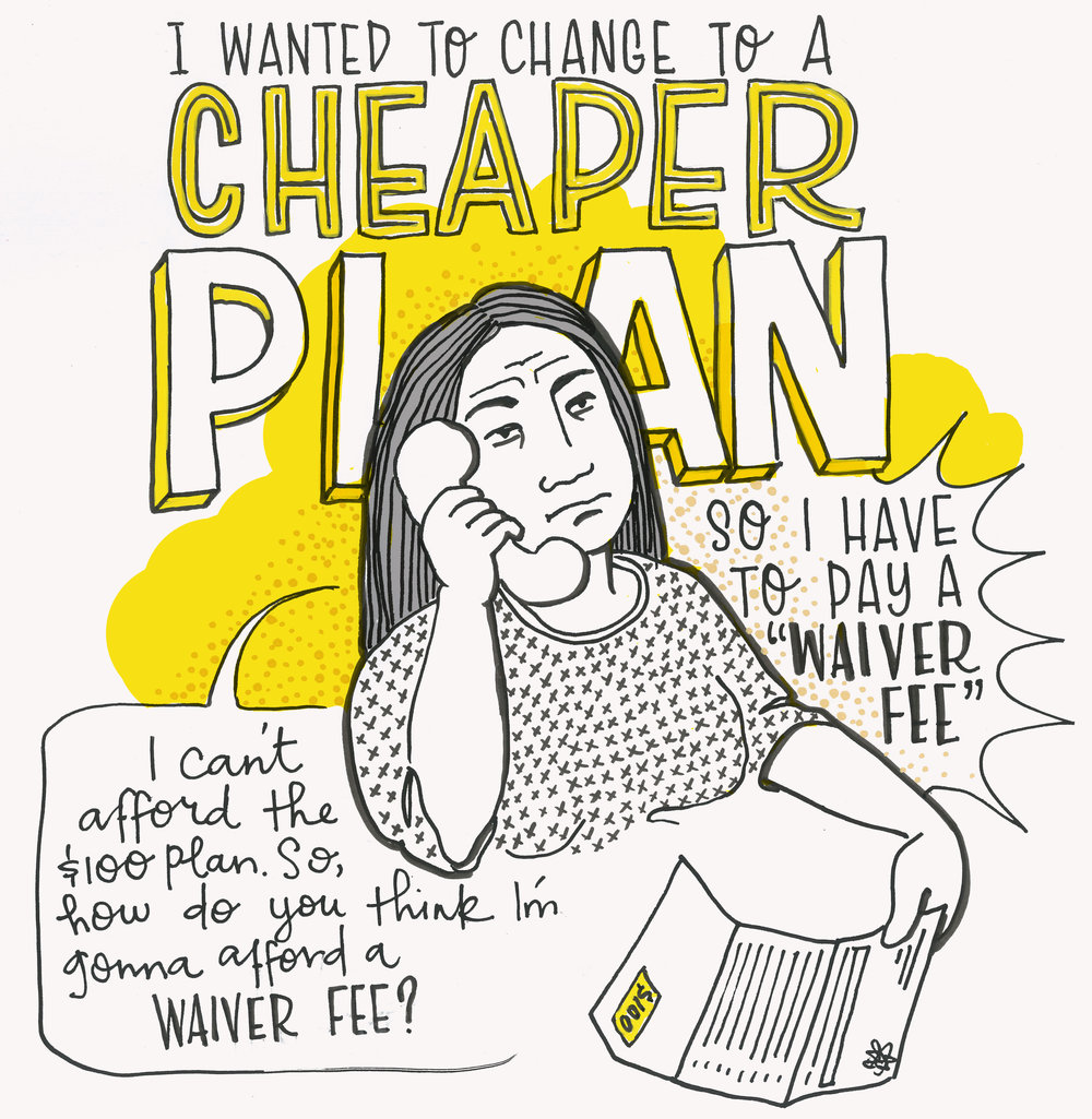 "Top text: I wanted to change to a cheaper plan, so I have to pay a ""waiver fee"". A frowning woman is on the phone and looking at a bill, ""I can't afford the $100 plan, so how do you think I'm gonna afford a WAIVER FEE?"""