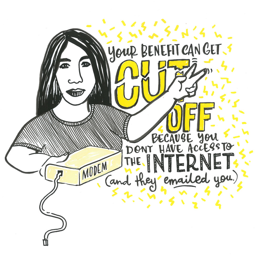 "Woman holding a modem saying ""Your benefit can get cut off, because you don't have access to the Internet (and they emailed you)"""