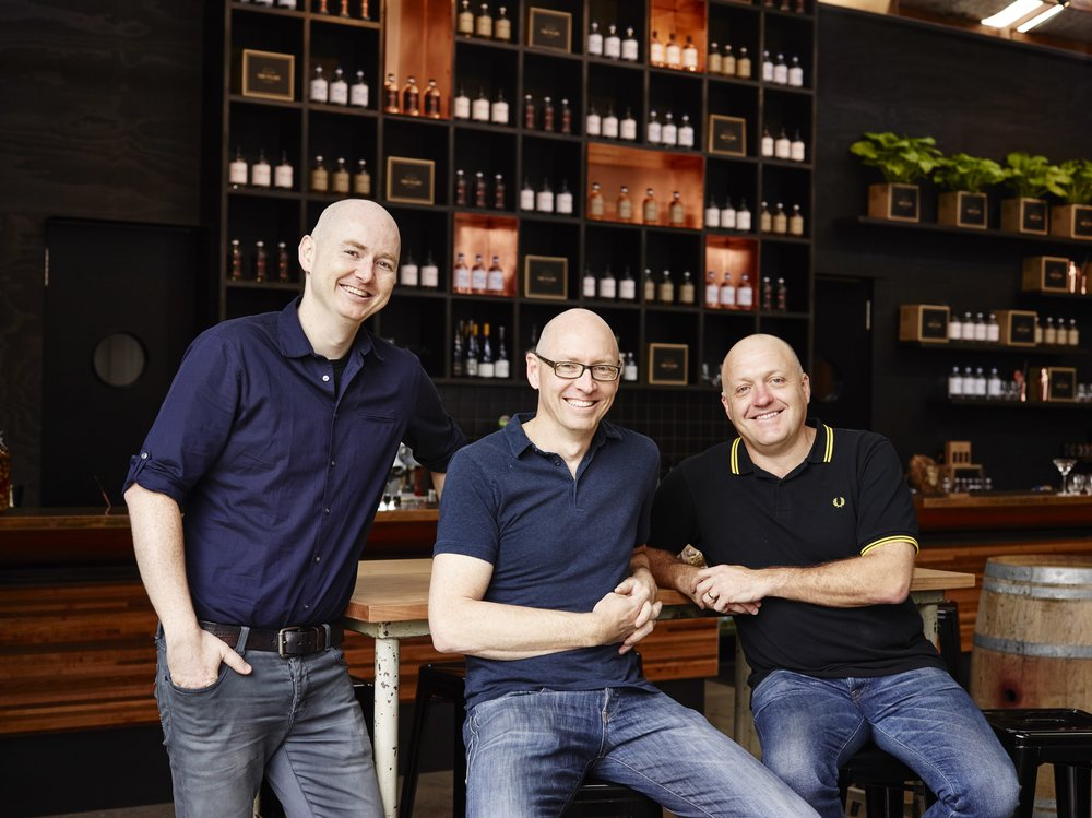 Four Pillars Gin co-founders (left to right) Matt Jones, Cameron Mackenzie, and Stuart Gregor.