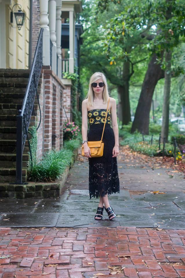 Summertime Sunflowers, Liz Best, Liz-Best, Nasty Gal Swimsuit, Pixie Market Skirt, Reed Krakoff Bag, Nasty Gal Shoes, Le Specs Sunglasses
