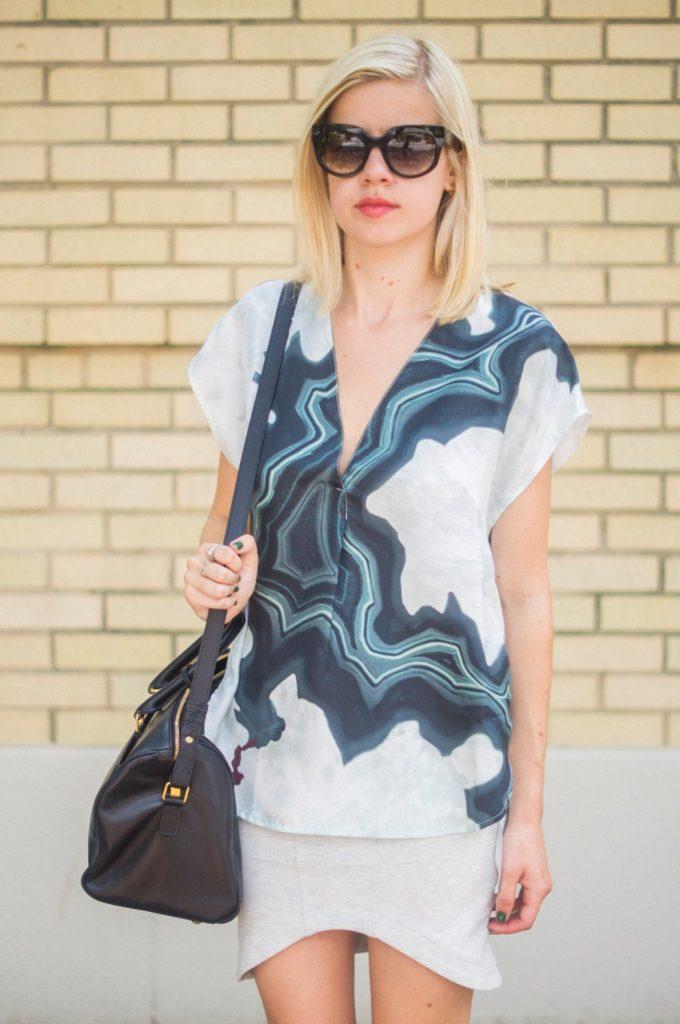 Geode Mode, Liz Best, Liz-Best, Delaney Photography, Phillip Lim Top, Pixie Market Skirt, Saint Laurent Bag, Prada Shades