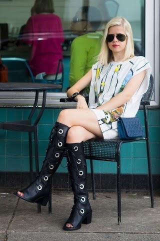 Tank Dress + Knee High Boots, Liz Best, Liz-Best, Phillip Lim Tank, American Apparel Slip, Free People Shoes, Chanel Bag, Burberry Watch