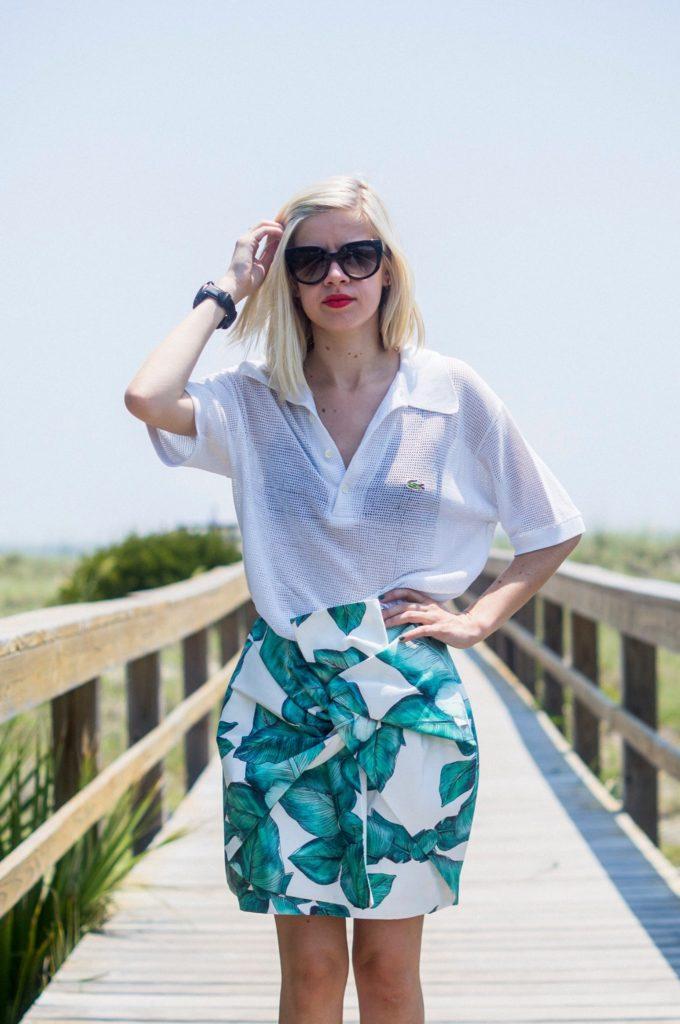 Palm Beach, Vintage Shirt, Cameo Skirt, Nasty Gal, Shoes, Prada Sunglasses, Liz Best, Liz-Best