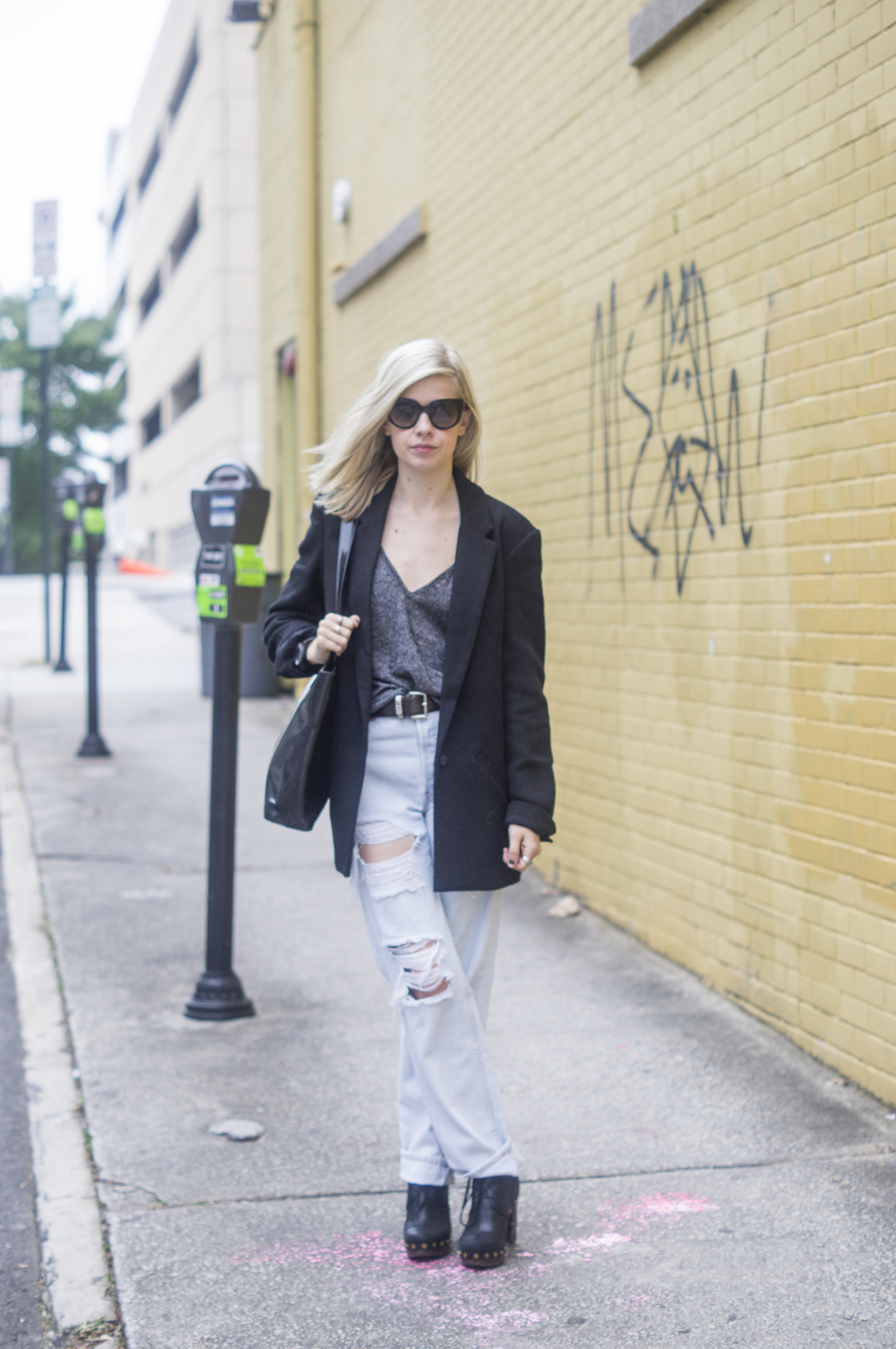 TGIF, Liz Best, Liz-Best, Delaney O'Connor Photography, Urban Outfitters Tank, Urban Outfitters Blazer, Urban Renewal Jeans,  Vintage Moschino Belt, Vintage Moschino Bag, Marc by Marc Jacobs Shoes