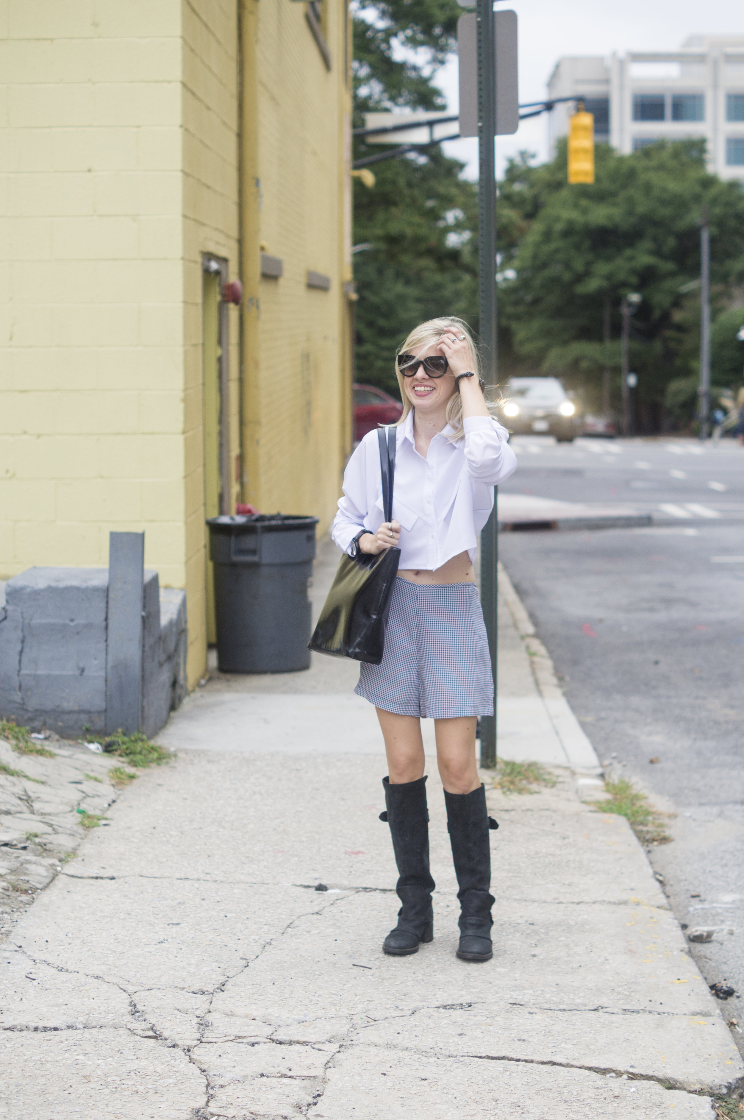 Checked Out, Liz Best, Liz-Best, Delaney O'Connor Photography, asos crop top, equipment shorts, vera wang shoes, vintage moschino bag