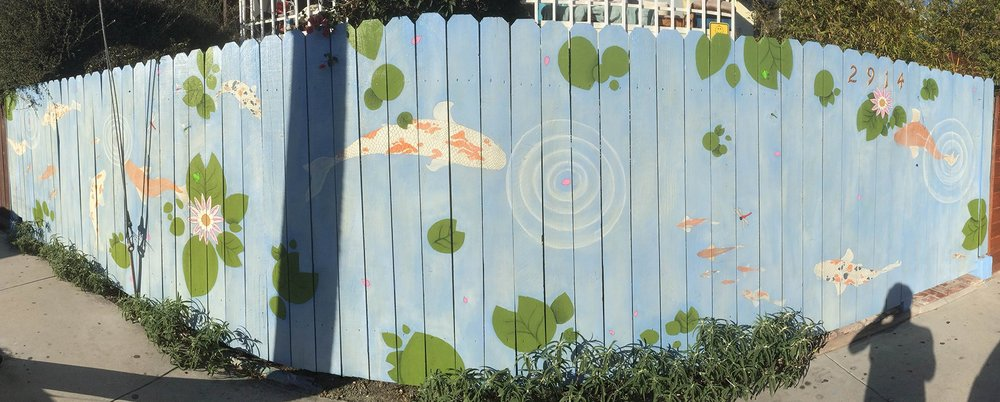 Hand painted Koi Pond Mural on wooden fencing - 7.5ft high x 40ft long