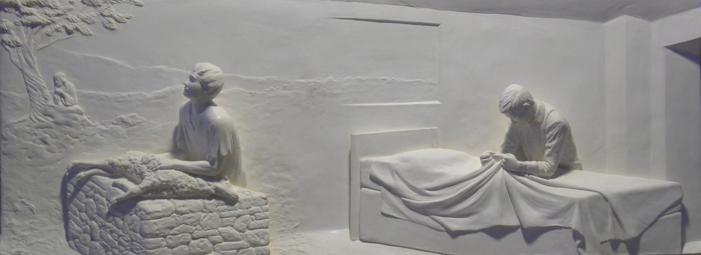 "Article of Faith # 2  Hydrocal Plaster  14"" x 37"""