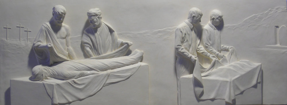 "Article of Faith #3   Hydrocal Plaster  14"" x 37"""