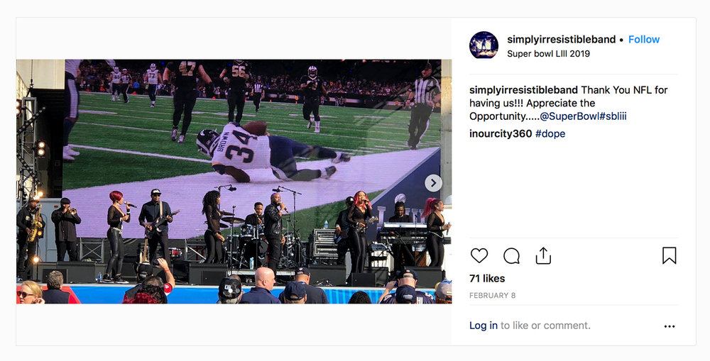 PHOTO: Ede Wright performs on Goshawk™ with  Simply Irresistible  for CBS on Game Day Stage at Super Bowl LIII.