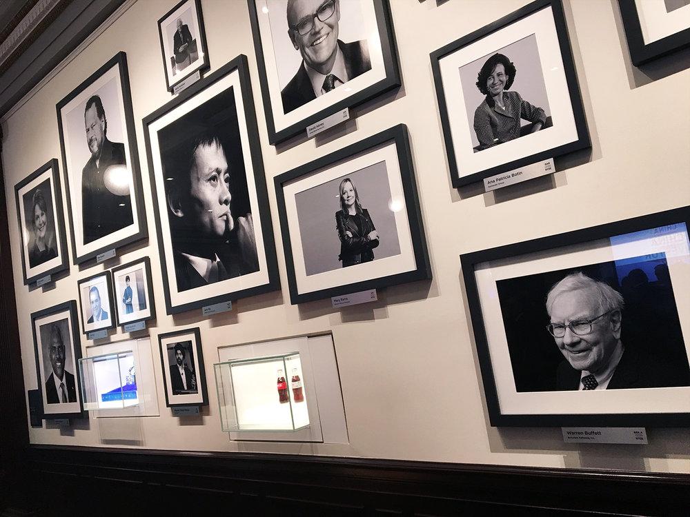 PHOTO: Jack Ma (Alibaba) dominates the wall of financial leaders. Warren Buffet (Berkshire Hathaway) lower right.