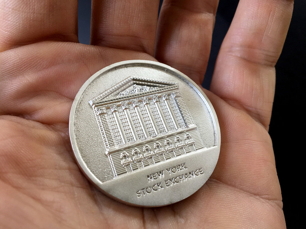 PHOTO: Commemorative NYSE coin given to visitors.